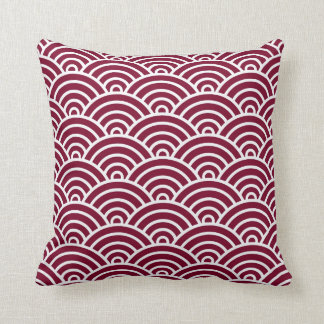 Classic Art Deco Scales in Cranberry and White Throw Cushion