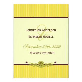 Classic Art Nouveau Yellow and Dark Purple Wedding 17 Cm X 22 Cm Invitation Card