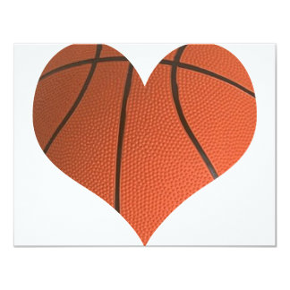 Classic Basketball Cut In A Heart Shape 11 Cm X 14 Cm Invitation Card