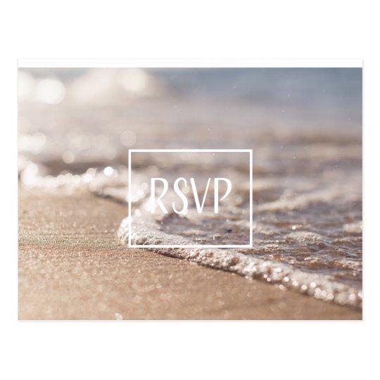 Classic Beach RSVP Wedding Postcard