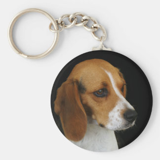 Classic Beagle Basic Round Button Key Ring