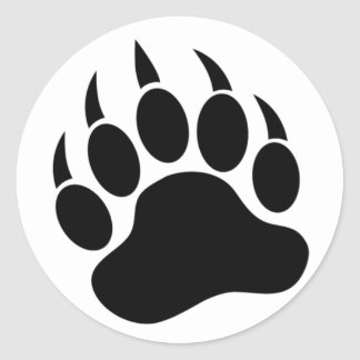 Classic Bear Paw/Claw in black and white -Sticker Classic Round Sticker