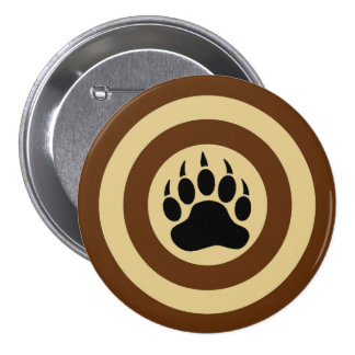 Classic Bear Paw in Super Hero Shield 7.5 Cm Round Badge