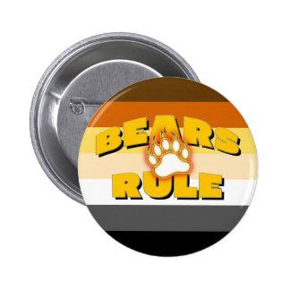 Classic Bear Pride Flag Bears Rule Bear Paw 6 Cm Round Badge