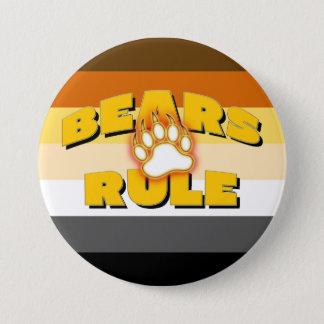 Classic Bear Pride Flag Bears Rule Bear Paw 7.5 Cm Round Badge