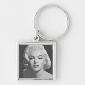 Classic Beauty Silver-Colored Square Key Ring
