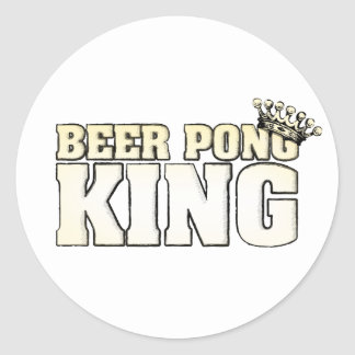 Classic Beer Pong King Round Sticker