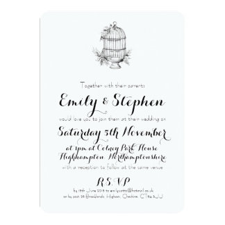 Classic Birdcage Personalised Wedding Invitation