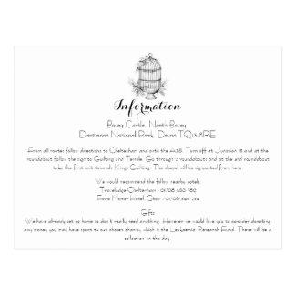 Classic Birdcage Wedding Information Card Postcard
