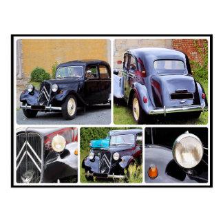 Classic black 11cv vintage oldtimer car collage postcard