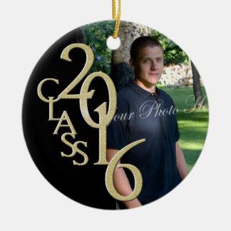 Classic Black 2016 Graduate Photo Christmas Ornament