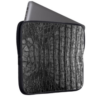 Classic Black Alligator Skin #2 Laptop Computer Sleeves