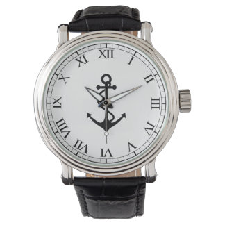 Classic Black Anchor Wrist Watches