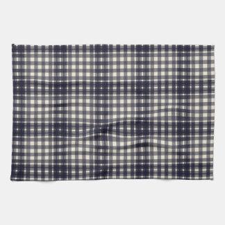 Classic Black and Cream Plaid Tea Towel