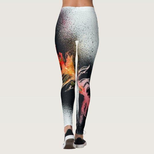 Classic Black and Orange Feather Leggings