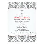 Classic Black and Red Nurse graduation pinning 13 Cm X 18 Cm Invitation Card