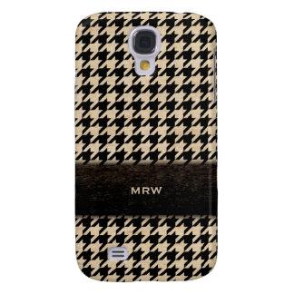 Classic Black and Tan Houndstooth Custom Monogram Galaxy S4 Case