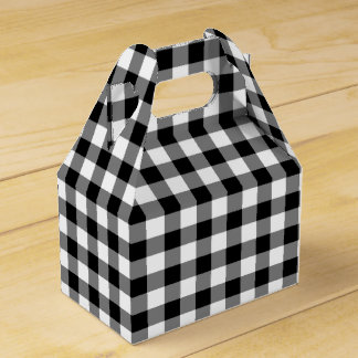 Classic Black And White Checked Gingham Favour Boxes