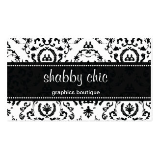 Classic Black and White Damask Business Card