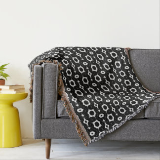 Classic black and white design throw blanket