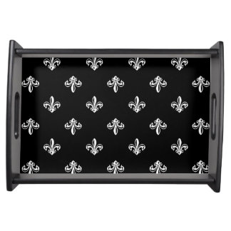 Classic Black and White Fleur-de-lis Pattern Serving Tray