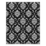 Classic Black and White Floral Damask Pattern