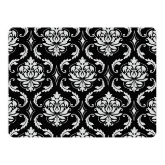 Classic Black and White Floral Damask Pattern 17 Cm X 22 Cm Invitation Card