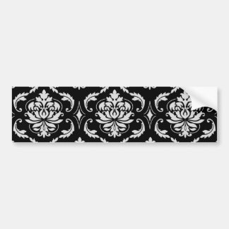 Classic Black and White Floral Damask Pattern Bumper Stickers