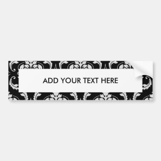 Classic Black and White Floral Damask Pattern Car Bumper Sticker