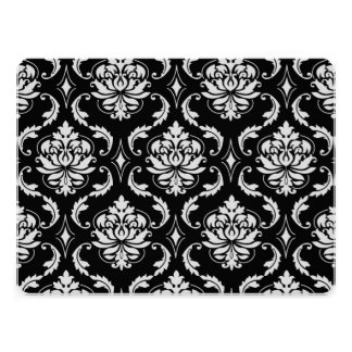 Classic Black and White Floral Damask Pattern Invitation