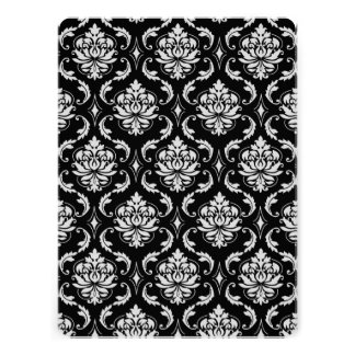 Classic Black and White Floral Damask Pattern Personalized Invites