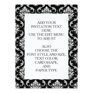 """Classic Black and White Floral Damask Pattern 6.5"""" X 8.75"""" Invitation Card"""