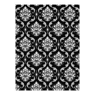 Classic Black and White Floral Damask Pattern Custom Invites