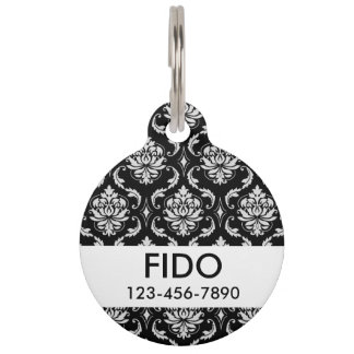 Classic Black and White Floral Damask Pattern Pet ID Tag