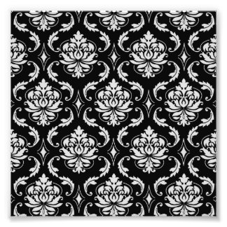 Classic Black and White Floral Damask Pattern Photograph