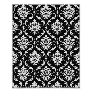 Classic Black and White Floral Damask Pattern Photographic Print