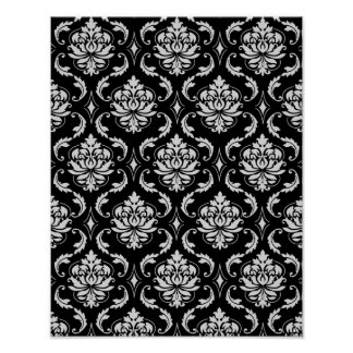 Classic Black and White Floral Damask Pattern Print