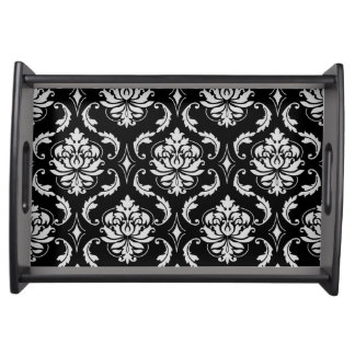 Classic Black and White Floral Damask Pattern Serving Tray