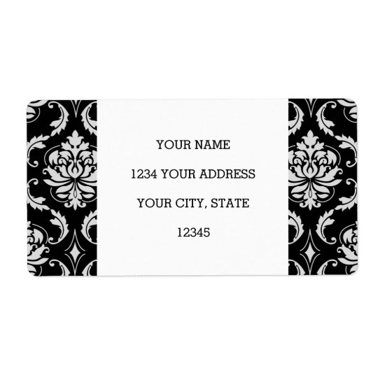 Classic Black and White Floral Damask Pattern Shipping Label