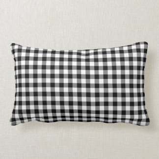 Classic Black And White Gingham Pattern Lumbar Cushion