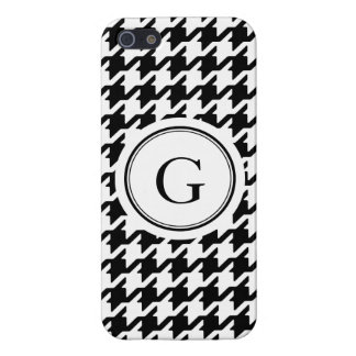 Classic black and white houndstooth monogram case for the iPhone 5