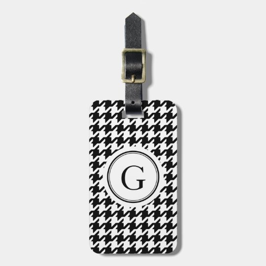 Classic black and white houndstooth monogram luggage tag