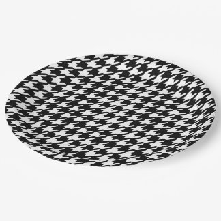 Classic Black and White Houndstooth Pattern 9 Inch Paper Plate