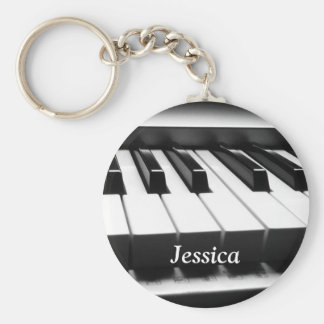 Classic Black and White Keyboard Basic Round Button Key Ring