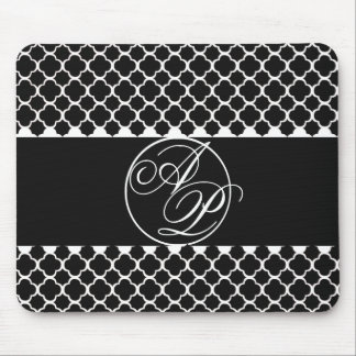 Classic Black and White Monogram Mouse Pad