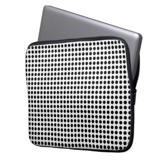Classic Black and White Polka Dots Pattern Laptop Sleeve
