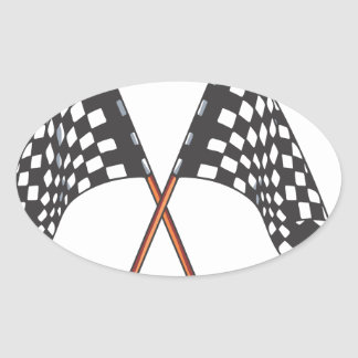 Classic black and white Racing Flag Oval Sticker