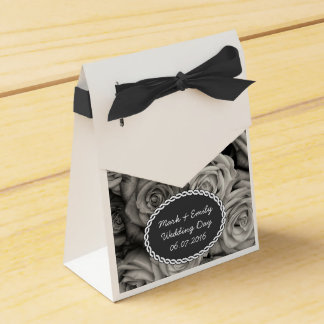 Classic Black and White Roses Favour Box