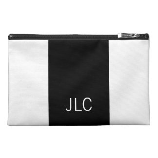 Classic Black and White Stripe Monogram Travel Accessory Bag