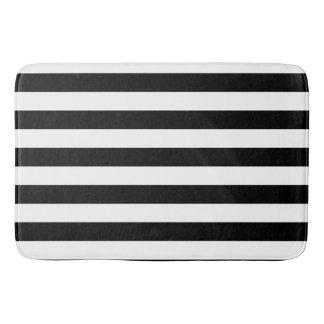 Classic Black and White Striped Pattern Bath Mat